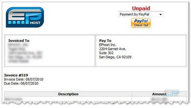 web hosting PayPal invoice payment
