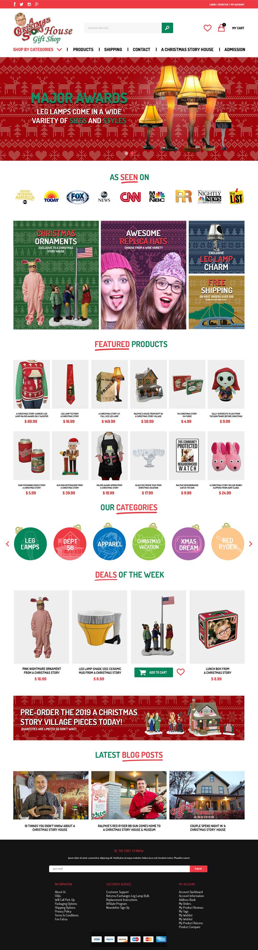 Image of A Christmas Story House Gift Shop web page design