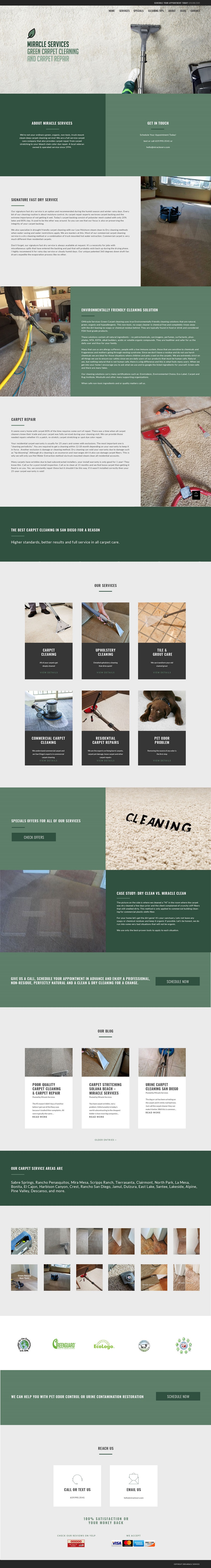 Image of Miracle Services website design