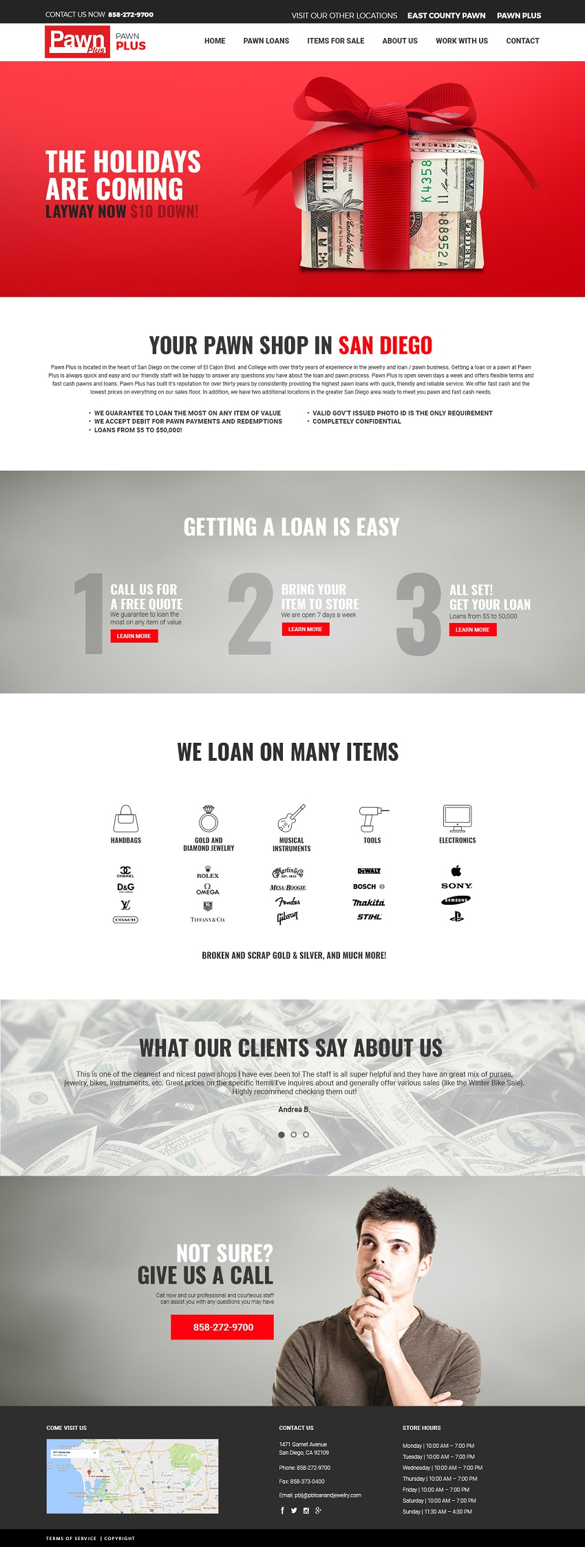 Image of Pawn Plus website design